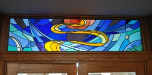 Abstract Creation Stained Glass Transom