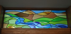 Abstract River Of Life Stained Glass Transom
