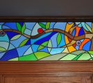 Abstract The True Vine Stained Glass Transom