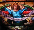 Angel panel from triple lancet restoration at Chestnut Hill College