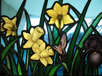 Daffodils & Hummingbird Stained Glass