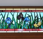 Floral Hand Painted Religious Stained Glass Transom