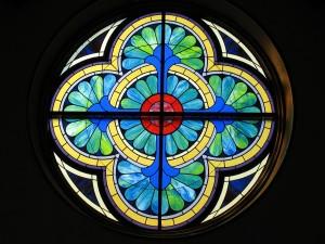 "Geometric Rose Window, 7"" Round"