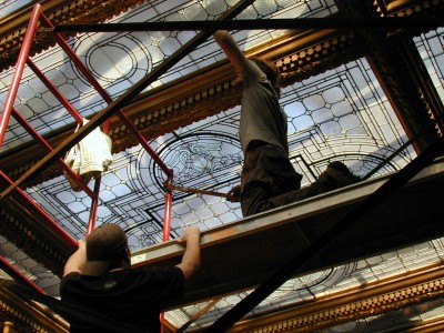 Leaded Glass Ceiling Cleaning -in Process Glen Foerd Mansion, Philadelphia, PA