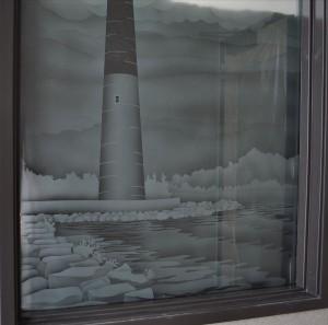 Lighthouse Sand Blasted Window