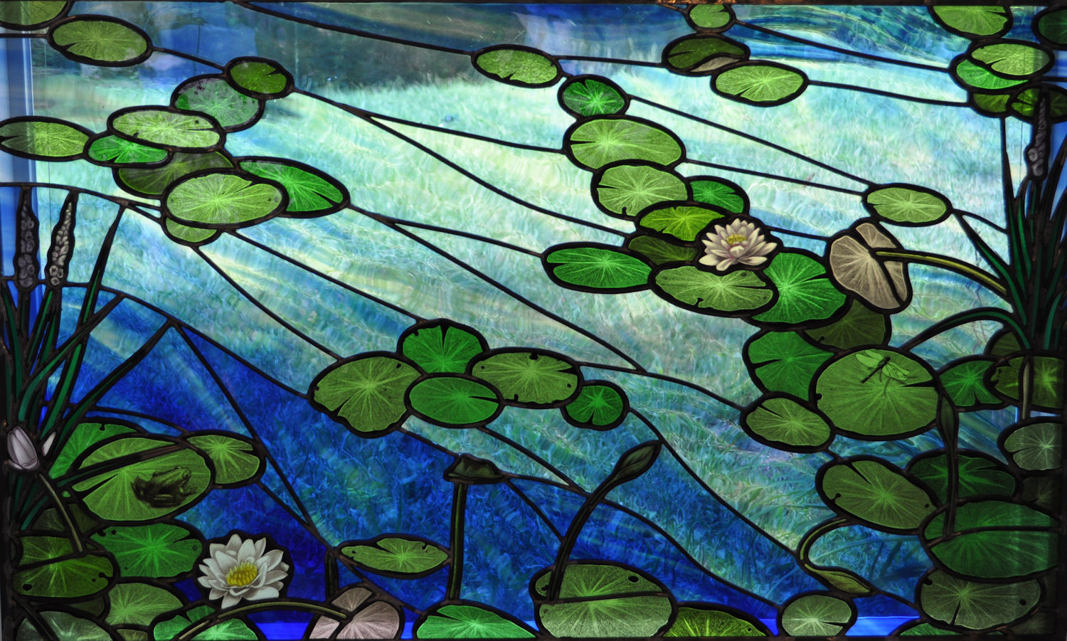 Hand Painted Lily Pad Stained Glass Window