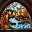 Stained glass Autumn scene, Weslyian UMC, Tyrone, Pa
