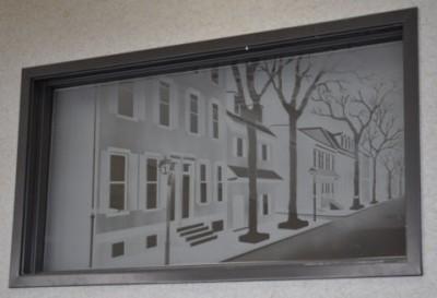 Sandblasted Window Philadelphia, PA Street Scene