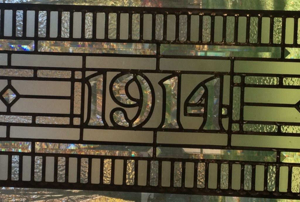 Closeup of Stained Glass Transom House Number -in Limerick, PA