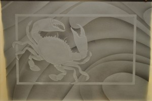 Sand Carved Blue Crab Glass Panel