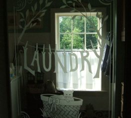 Sandblasted Glass Door -for Laundry