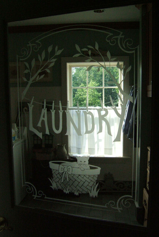 Sandblasted Glass Door -for Laundry