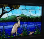 Opalescent Blue Heron Stained Glass Window