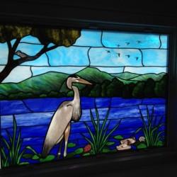 Hand Painted Blue Heron Window