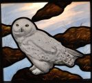 Hand Painted Stained Glass Snow Owl