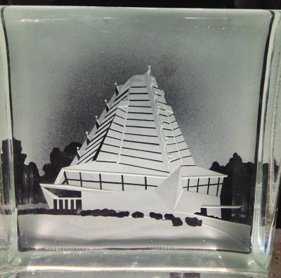 Sand Carved Glass Award -for Beth Sholom -in Elkins Park, PA