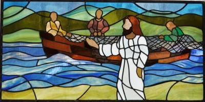 Jesus and the Fisherman Stained Glass Window, Grace Umc, Manassas, Va