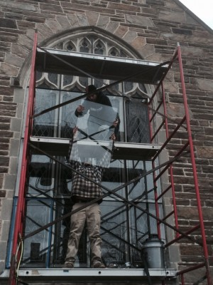 Protective Glazing project underway at First Baptist, Kennett Square, PA