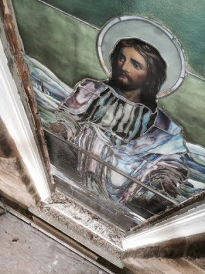 Pre-conservation - Stained glass at Abington Presbyterian Church in Abington, PA.