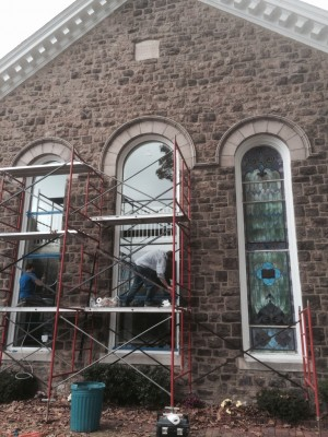 Replacement of stained glass protective coverings at Boehms UCC in Blue Bell, PA.