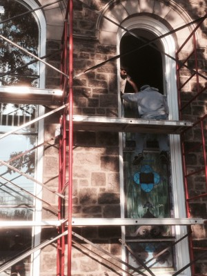 Stained Glass Extraction  at Boehms UCC in Blue Bell, PA.