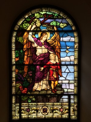 Stained Glass Restoration - Guardian Angel Window, Holy Family Church, Manayunk, PA