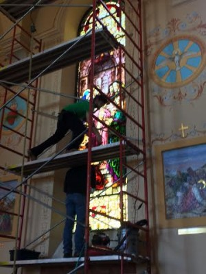 Stained Glass Restoration, Holy Family, Manayunk, PA