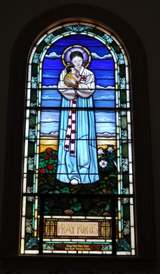 Mary Stained Glass Window Designed and Fabricated by Castle Studio Inc.