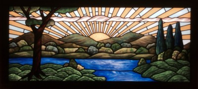 Sunrise stained glass light panel created for the chapel at Normandy Farms Estates, an ACTS retirement-life community.