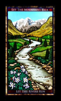 Aspen Stained Glass Window Created by Castle Studio for a Residence in Audubon, PA