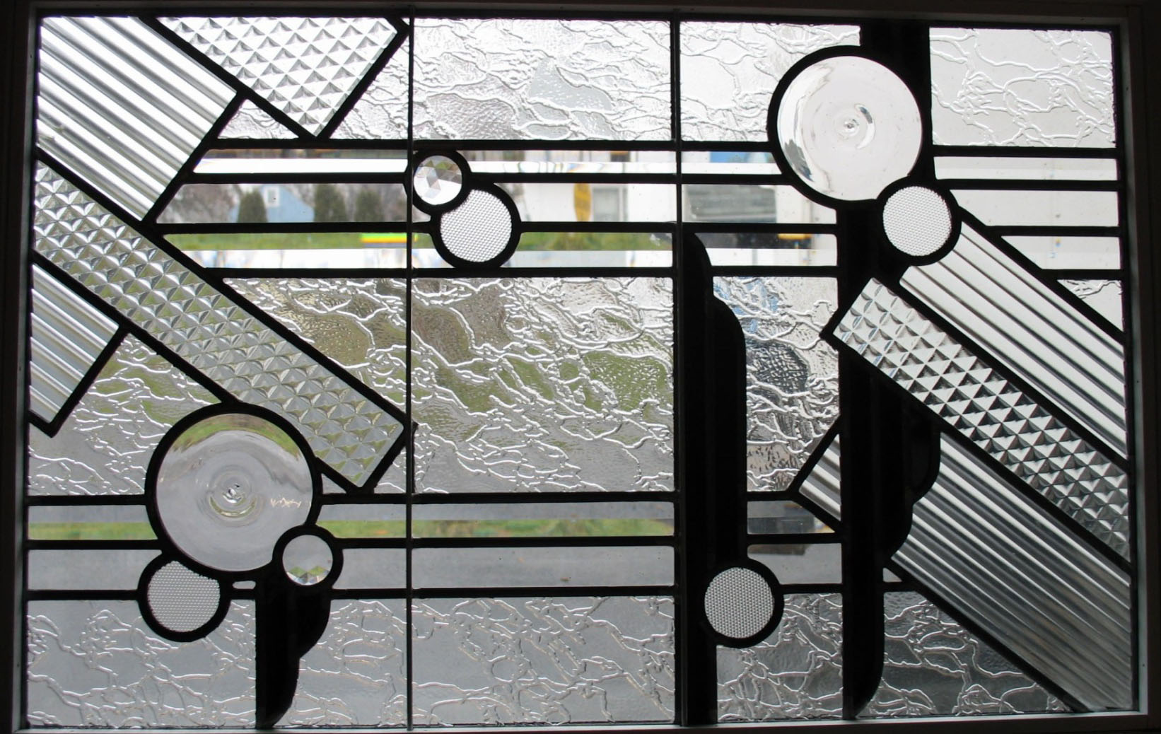 Modern Stained Glass transom window