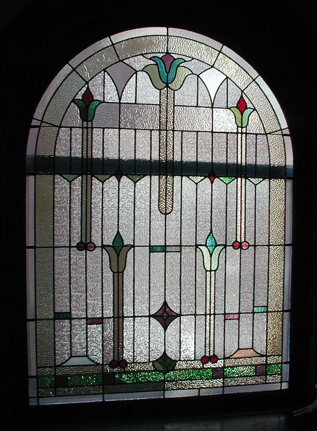 Restored Stained Glass Window and transom