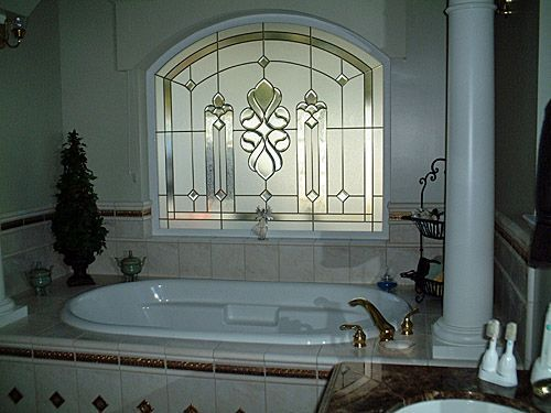 Example of SGO, or Stained Glass Overlay bath privacy window