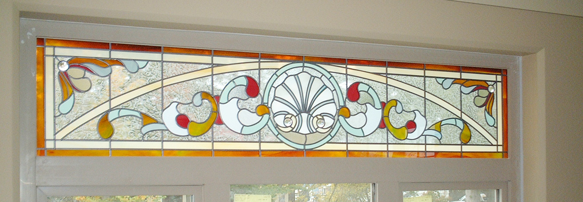 Example of SGO, or Stained Glass Overlay transom