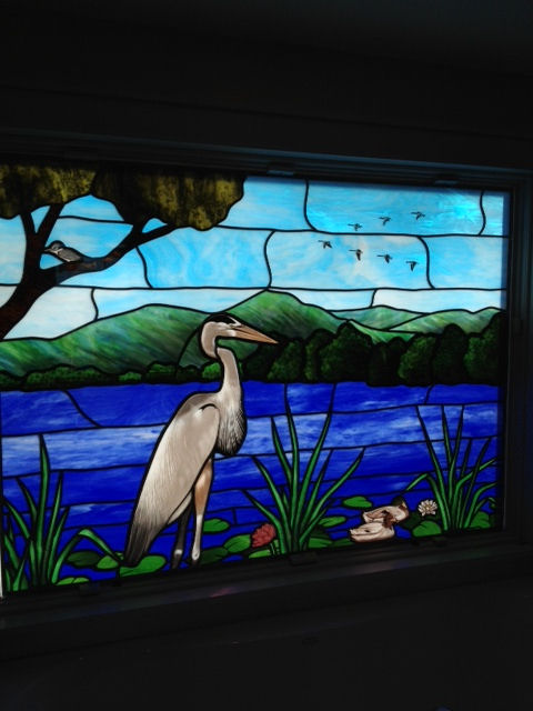 Stained Glass transom window of a Blue Heron