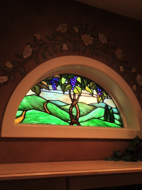 Stained Glass Transom Window of a Grapevine